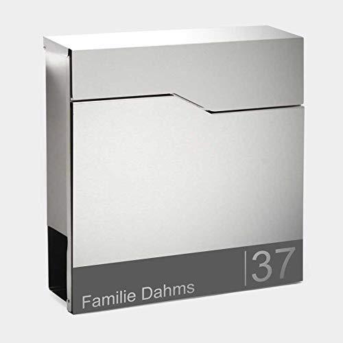 Zalafino Briefkasten mit Beschriftung Namen Hausnummer - RARITÄT – individualisierbarer Design Briefkasten aus Edelstahl mit Zeitungsrolle - Model Torben