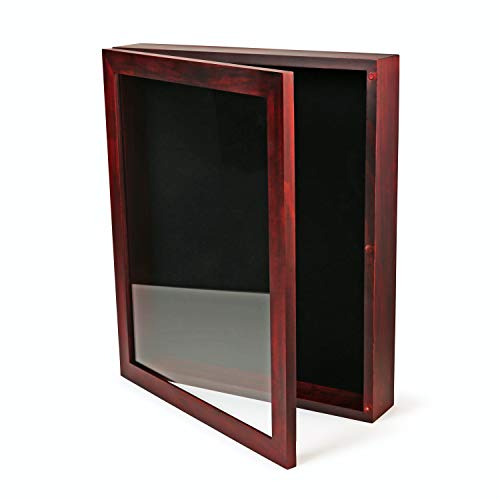 ForeverFrames - 12x15x2 Shadow Box Display Case | Magnetically Opens and Closes like a Door - Real Wood, Strong Glass, Linen Background | Cherry Red | For Wall and Desktop. Protect Important Memories