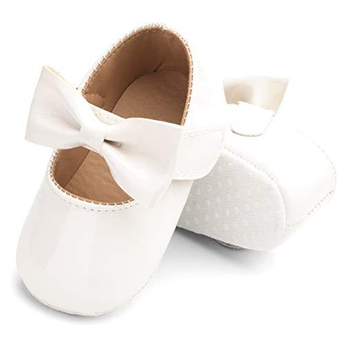 Geagodelia Chaussures Bébé Fille de Premier Pas Chaussons Semelle Souple Antidérapant Chaussure de Princesse Enfants Couleur Unie Noeud Papillon Chaussures Fille de Mariage (Blanc, 12-18 Mois)