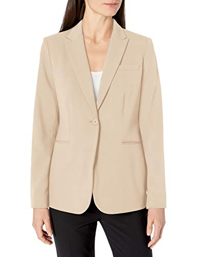 Calvin Klein Women's Single Button Suit Jacket, Latte, 16