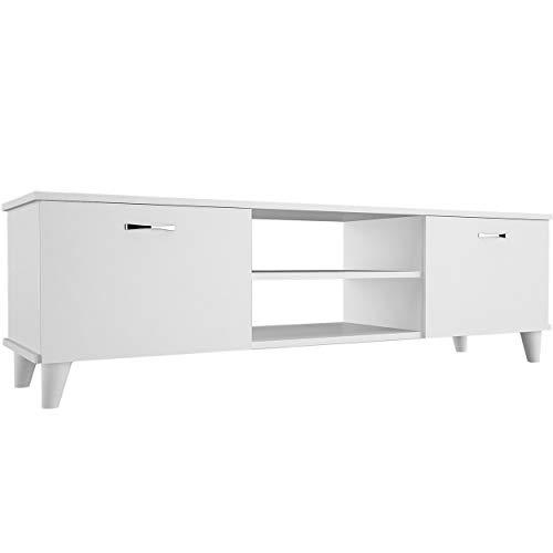Homemania TV-Schrank, Spanplatte, Metall und Kunststoff, Weiß, 140 x 30 x 43 cm
