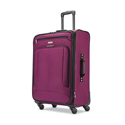 American Tourister Pop Max Softside Luggage with Spinner Wheels, Berry, Checked-Medium 25-Inch