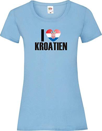 Shirtinstyle Shirt pour Femmes WM Shirt de pays I love Croatie couleurs diverses, Tailles XS-XL - Bleu ciel, XL