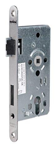 Alpertec 36053200 Einsteckschloß Objektschloß DIN LINKS für Wohnungseingangstüren PZ Edelstahl matt, Stulp 20 mm rund, Vierkant 8 mm