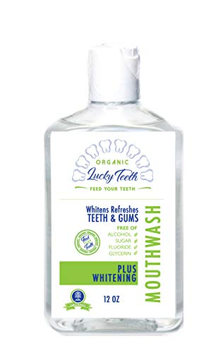 Lucky Teeth Organic Food Grade Peroxide MouthWash - Plus WHITENING - Whitens, Refreshes. Food Grade Peroxide + Essential Oils. 12 OZ (1 (12 OZ))