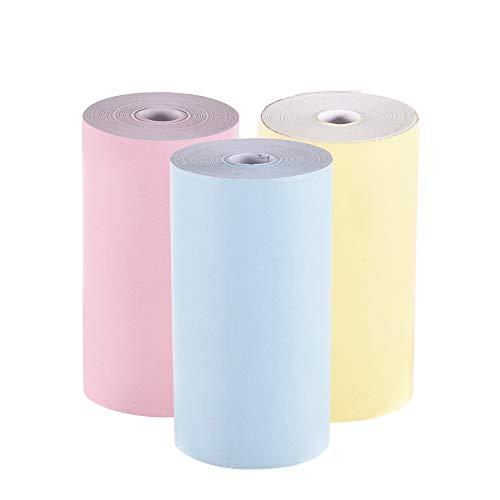 Aibecy Rollo de papel térmico en color 57 * 30mm Papel fotográfico de recibo de recibos Impresión clara para PeriPage A6 Impresora térmica de bolsillo para mini impresora de fotos PAPERANG P1/P2,3pcs