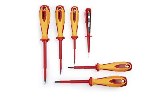 H+H Werkzeug SDSX6 Schraubendreher Set 6tlg inkl. Spannungsprüfer VDE geprüft Made in Germany, rot/gelb