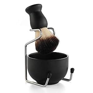 Men's Shaving Set, Stainless Steel Shaving Razor&Brush Holder Soap Bowl Mug Badger Hair Beard Brush, Wet Shaving Kit - 3 Pieces (Black)