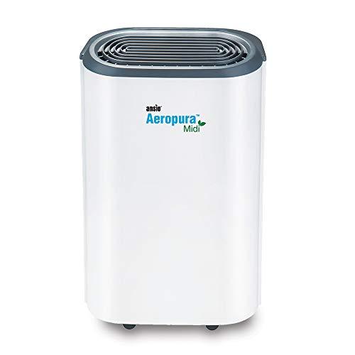 ANSIO Deumidificatore 12 litri/giorno, drenaggio continuo, scongelamento, umidostato, blocco bambini e ruote, ideale per casa, ufficio, cucina, cantina/garage.