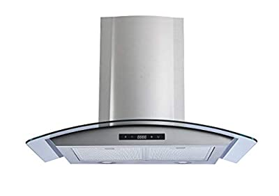 Winflo 30 In. 520 CFM Convertible Stainless Steel/Glass Wall Mount Range Hood with Mesh Filters and Touch Sensor Control