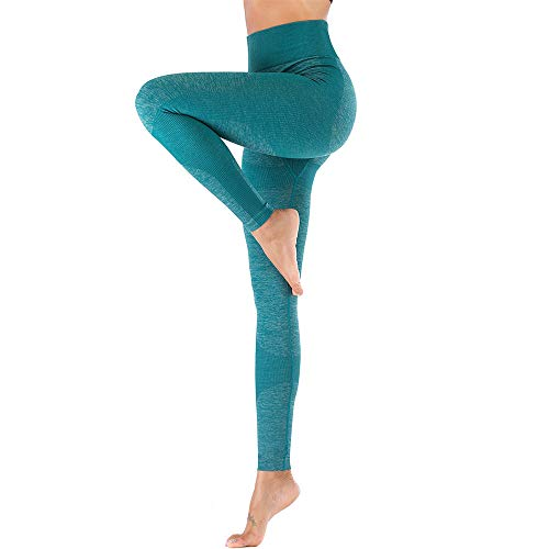 BEIXUNDIANZI Damen High Waist Sport Legging Mit Pocket Slimming Pants Für Yoga Gym Fitness Running Grün S Yoga Pants