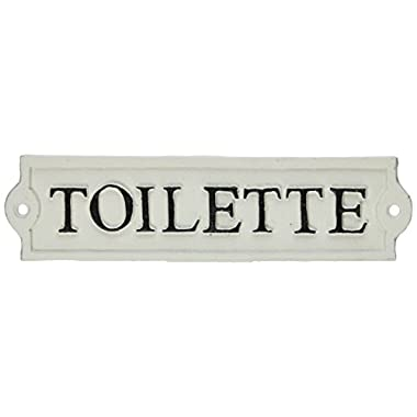 Abbott Collection  Toilette  Sign, 8 1/4  - Antique White/Beige
