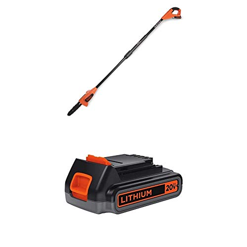 BLACK+DECKER 20V MAX Pole Saw with Lithium Battery 2.0 Amp Hour (LPP120B & LBXR2020-OPE)