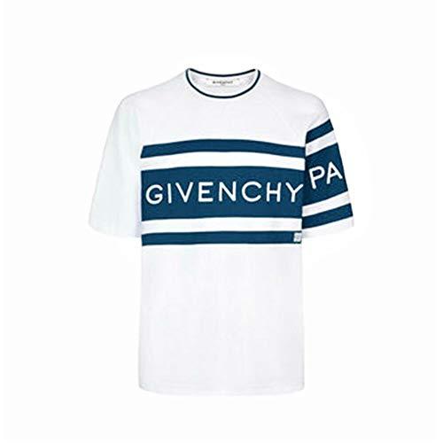 Givenchy - Camiseta de hombre blanca con rayas de contraste 4G y logotipo bordado blanco XL