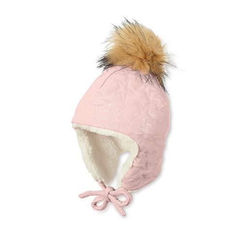 Sterntaler Inka-Mütze für Mädchen mit Kunstfell-Bommel, kuscheligem Innenfutter und Glitzermotiv, Alter: 9-12 Monate, Größe: 47, Zartrosa