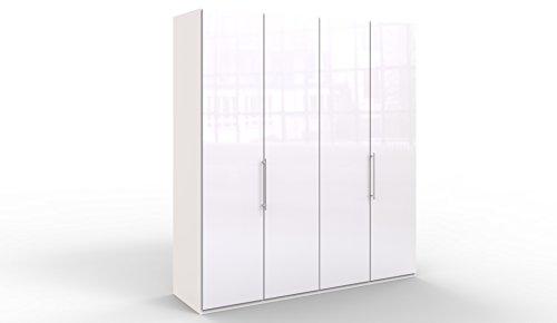 WIEMANN Loft Kleiderschrank, Schlafzimmerschrank, Gleittürenschrank, Drehtürenschrank, Glas, weiß, B/H/T 200 x 236 x 58 cm