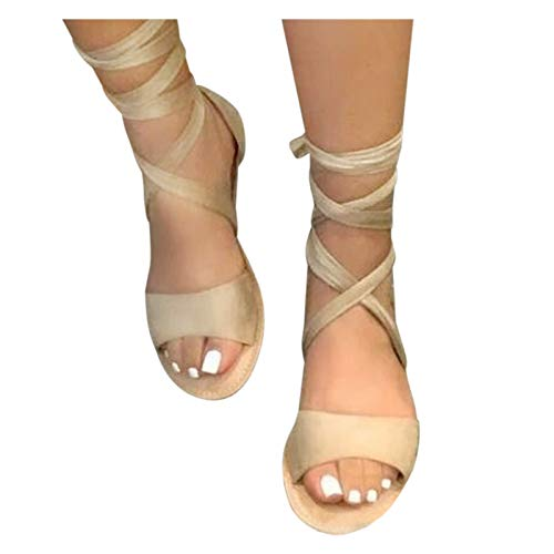 Aniywn Lace Up Ankle Strap Sandals for Women Flat Gladiator Sandal Summer Open Toe Tie Up Dress Shoes Khaki