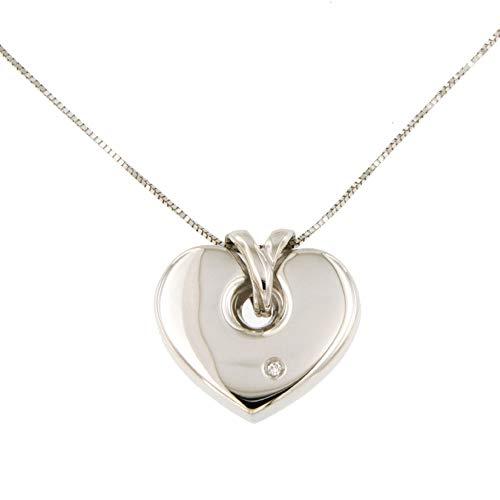 Lucchetta - Herzanhänger Gold Kette Damen mit gold 750 DiamantAnhänger - 18 karat Weissgold Herz mit Diamant