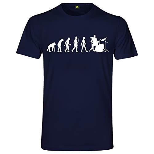 Evolution Schlagzeug T-Shirt   Drum   Set   Trommel   Becken   Stock   Stick Navy Blau S