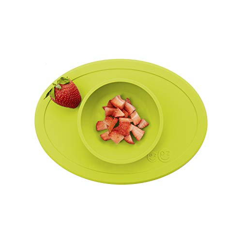 ezpz Tiny Bowl - 100% Silicone Suction Bowl with Built-in Placemat for First Foods + Baby Led Weaning - Fits on All Highchair Trays - 4 Months+ (Lime)