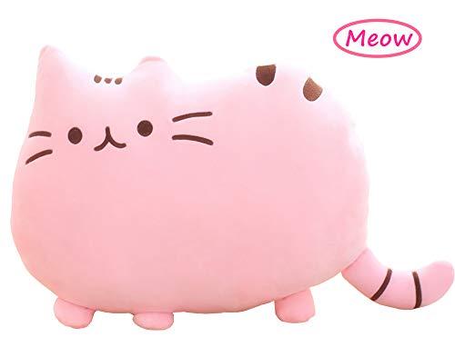 Sumerk Cat Shape Pillow Car Sofa Chair Back Cushion, Cat Plush Toys Cat Decorative Pillowcase Gift for Children