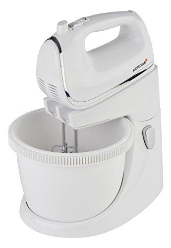 Korona – Handmixer mit Rührschüssel 23101 I 5 Geschwindingkeitsstufen  I Turbostufe I 2,5 Liter I 450 W I Weiß-Chrom