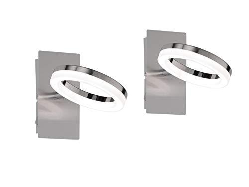 2er Set Schwenkbare LED Wandleuchte / Wandspot SCARLETT mit Schalter in Nickel matt