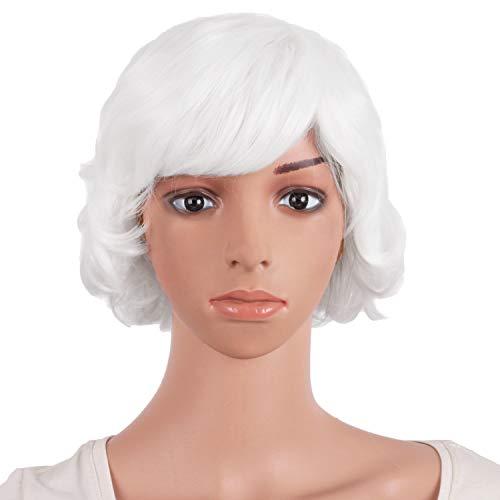 MapofBeauty 25cm/10 Pouce Court Bouclé Femmes Bouclé Perruques (Blanc)