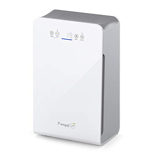 Fangqi Air Purifier with Real 3 in 1 HEPA Filter for Home, Living Room, Kitchen, Home Office, CADR 270 m³/h, 99.97% Air Filter Performance Against Allergens, Odours, Dander, Dust, Smoke, Pollen