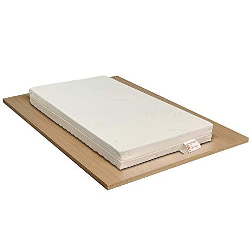 Foppapedretti - Materassino per Culla Lettino Antisoffoco, altezza 14cm, Rivestimento Sfoderabile e Lavabile con Tessuto in Fibra di Legno; Dispositivo Medico (60x120)