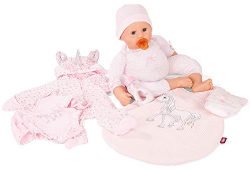 Götz 2061050 Cookie Babyshower Puppe - 48 cm große Babypuppe mit blauen Schlafaugen, ohne Haare und einem Weichkörper - 8-teiliges Set