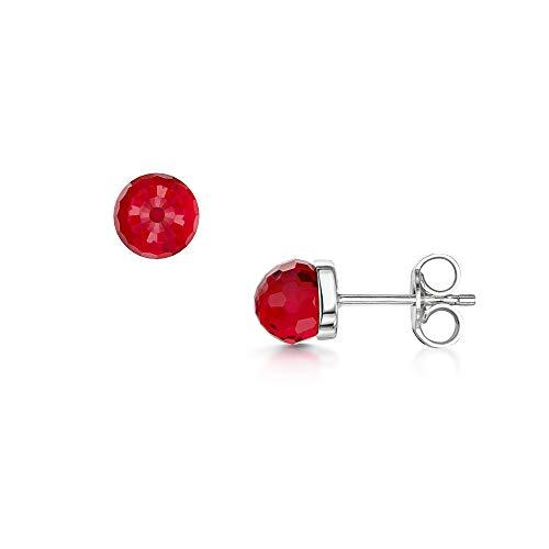 Amberta Pendientes Pequeños en Plata de Ley 925 con Baño de Rodio y Cristales Swarovski 5 mm - Pareja de Aretes Rojos Redondos para Mujer - Pendientes Brillantes de Moda con Piedra