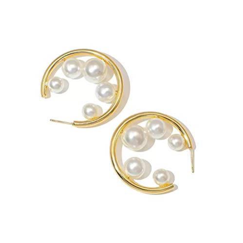 Gold Color Pearl Open Circle Hoop Earrings for Women Multi Pearls Hoops Earrings Minimalist Round Earrings
