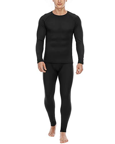 Thermal Underwear for Men Microfleece Lined Long Johns Top and Bottom Set Black