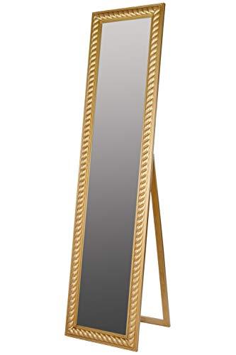 elbmöbel Standspiegel groß antik Gold Patina Spiegel Fuß barock Holz Landhaus-Stil Badspiegel Schminkspiegel Frisierspiegel Ankleidespiegel