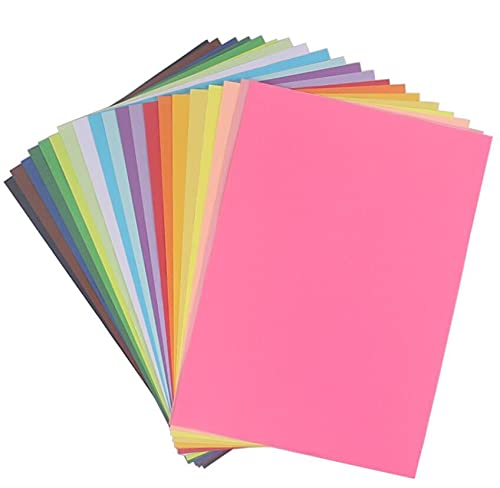 A4 Coloured Paper, Coloured Card 100 Sheets 20 Assorted Colours Origami...