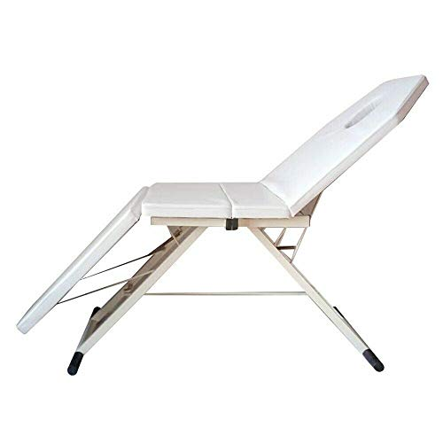 RANZIX Dreifach Gefaltetes Kosmetikliege Massageliege Massagetisch Massagestuhl bis 150 kg belastbar Premium-PVC-Leder mit Aluminiumfüße für Salon Spa (White)