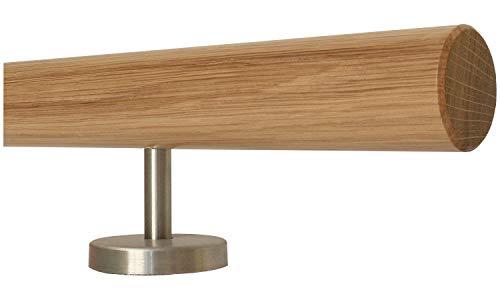 TIBU Barandilla de madera de roble raíl recto de acero inox