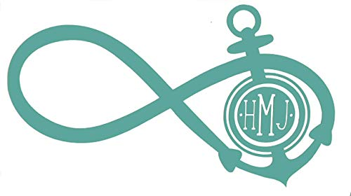 Custom Infinity Anchor Initial Monogram Vinyl Decal - Boating Bumper Sticker, for Tumblers, Laptops, Car Windows -Dot and Simple Letters