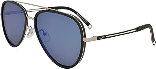 SQUAD Gafas de sol hombre y mujer polarizadas tipo protección UV400 marco metal negro mate Doble puente lentes de azul espejo