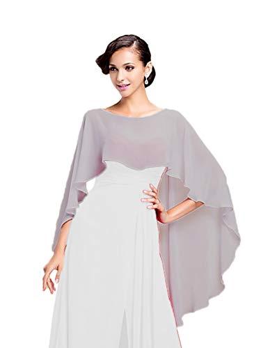 CoCogirls Stola in chiffon per abiti in diversi colori, adatta a qualsiasi abito da sposa, da sera, da matrimonio, da gala o ricevimento azzurro Taglia unica (Argento)
