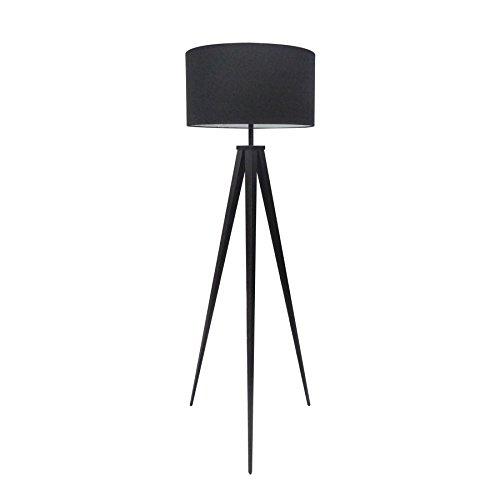 Elegante Stehleuchte TRIPOD schwarz Retrodesign Stehlampe Wohnzimmerlampe