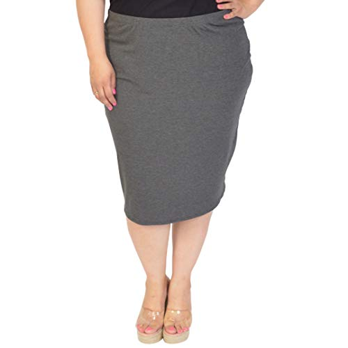 Stretch is Comfort Women's Plus Size Comfortable Soft Stretch MIDI Skirt Charcoal Gray 3X