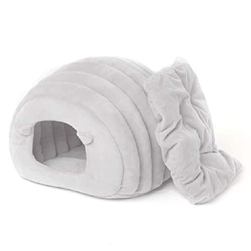 Cages Cat House Pet Cat Nest Semi-closed Sleeping Bag Cat Supplies Plush Bed Warm Kennel Toy Gift (Color :Gray, Size :38 * 33cm)