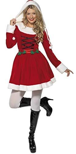 Fancy Me Damen Stechpalmen Claus Miss Santa Weihnachten Mrs Weihnachten festlich Kostüm Kleid Outfit - Rot, 12-14
