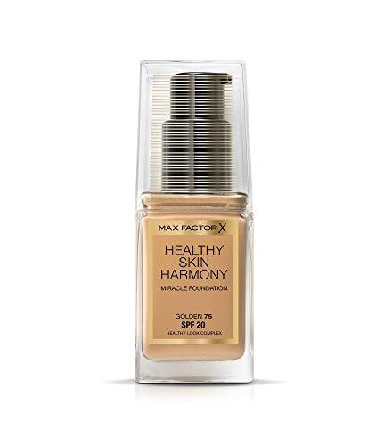 Max Factor Healthy Skin Harmony Foundation Golden 75 – Flüssig Make-up für die perfekte Grundierung – Feuchtigkeitsspendend für die Haut – 1 x 30 ml