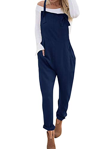 VONDA VONDA Women's Strappy Jumpsuits Overalls Casual Harem Wide Leg Dungarees Rompers Adjustable Straps-Navy L
