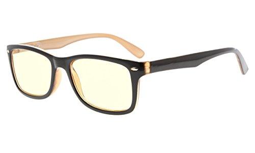 Eyekepper Computer Lesebrille,UV Schutz,Blendschutz,Entspiegelt Computer Leser (Schwarz Braun, Gelb getönte Gläser) +1.0