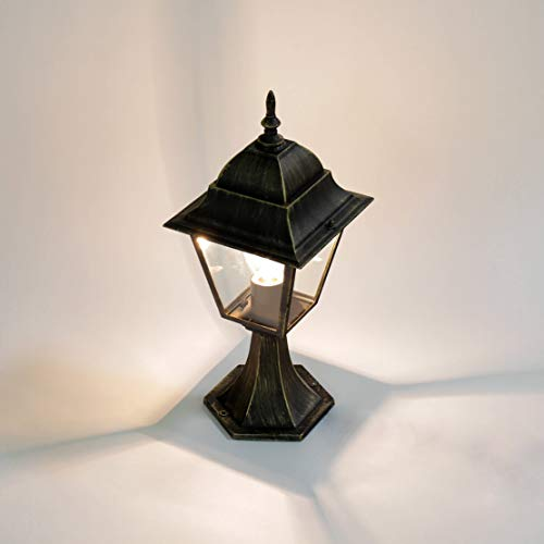 *Rustikale Standleuchte in antikgold inkl. 1x 12W E27 LED Stehleuchte aus Aluminium Glas Stehlampe für Garten Terrasse Garten Terrasse Lampe Leuchten außen*