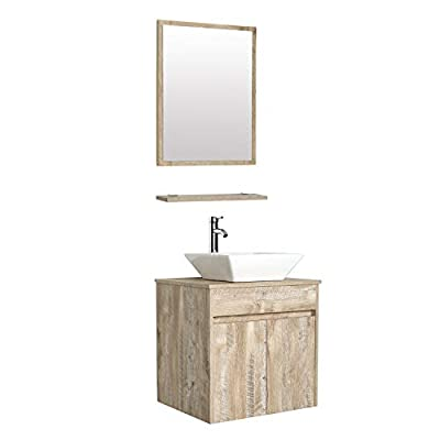"""eclife 24"""" Bathroom Vanity Sink Combo Wall Mounted Natural Cabinet Vanity Set Square White Ceramic Vessel Sink Top, W/Chrome Faucet, Pop Up Drain & Mirror (A07E03AK)"""
